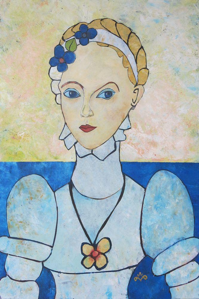 Elisabeth, Mischtechnik auf Karton, 70x50 cm, 2014