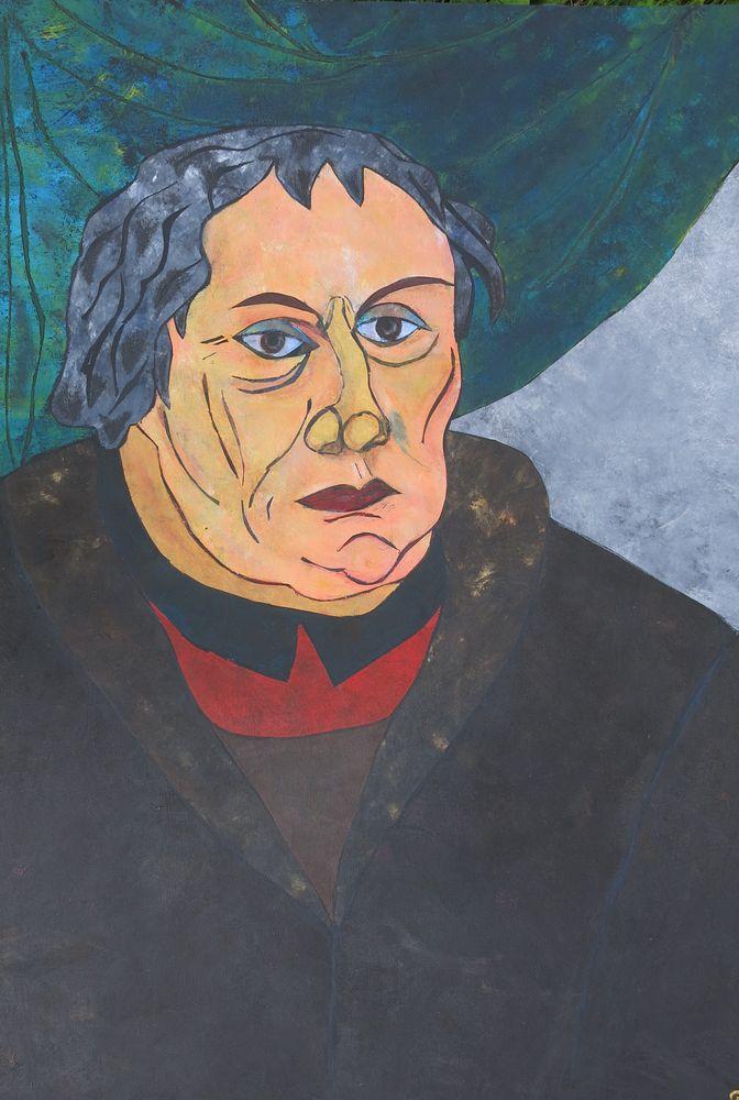 Luther, Mischtechnik auf Karton, 70x50 cm, 2014