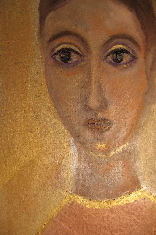stille Dame, Acryl auf Kork, 40x30 cm, 2013