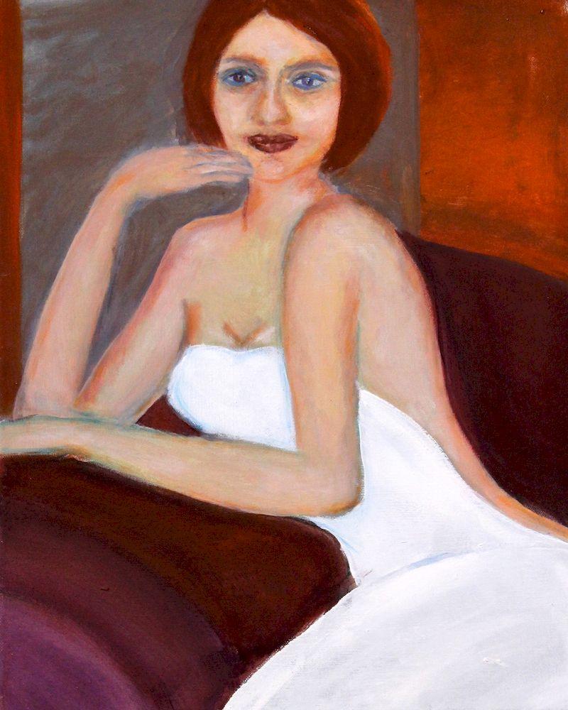sitzende Dame, Acryl auf Papier, 50x30cm, 2013