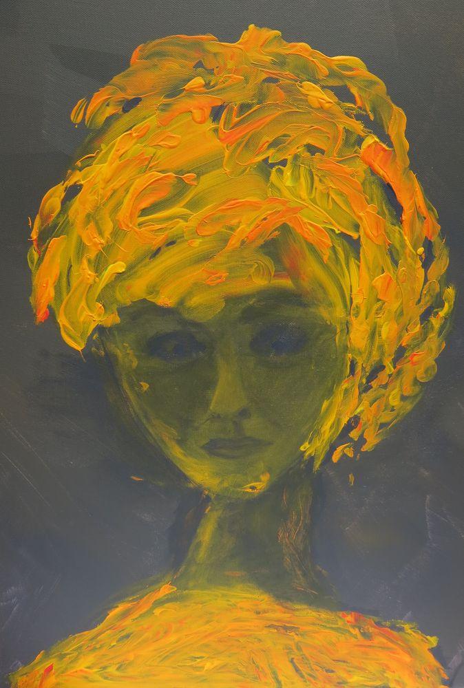 oreangene Dame, Mischtechnik auf Leinwand, 50x30 cm, 2014