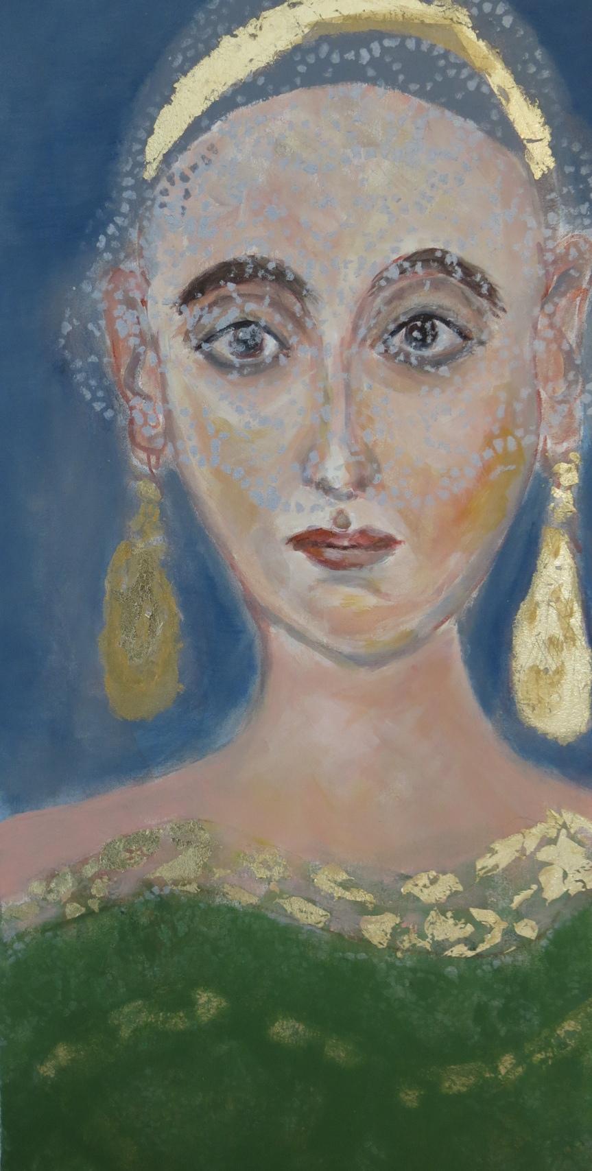Dame mit zwei Ohrringen, Mischtechnik auf Leinwand, 50x30 cm, 2014