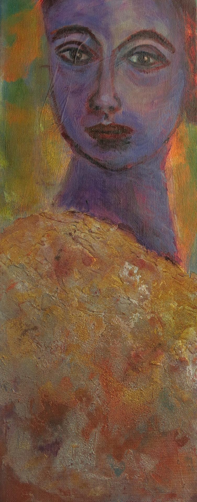 violette Dame, Mischtechnik auf Leinwand, 50x20 cm, 2014