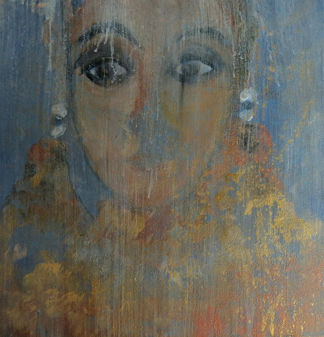 Dame mit zwei Ohrringen, Mischtechnik auf Leinwand, 30x30 cm, 2014