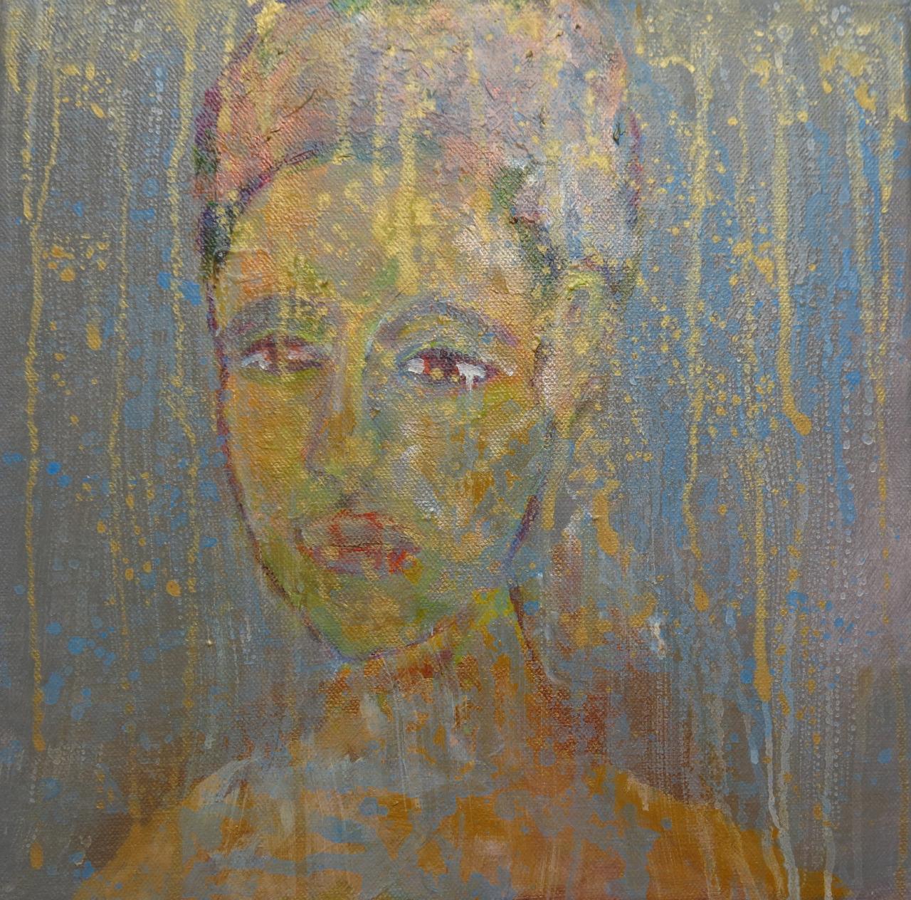 Dame mit einem Ohrring, Mischtechnik auf Leinwand, 30x30 cm, 2014